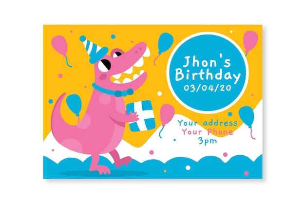 Concetto del modello dell'invito di compleanno dei bambini