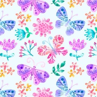 Concetto del modello di fiori e di insetti