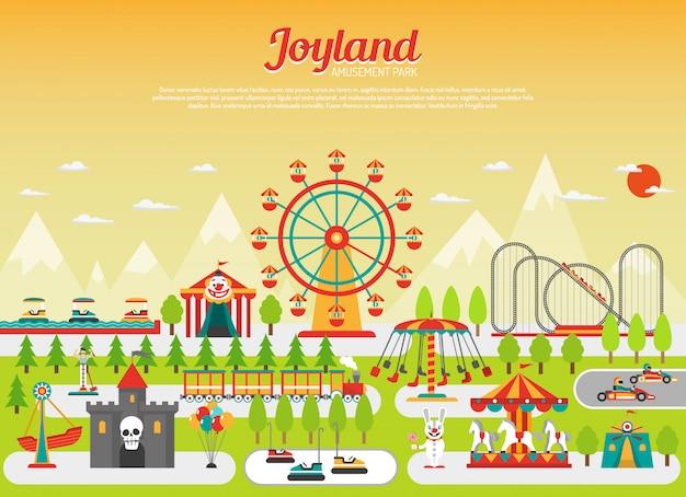 Concetto del parco di divertimenti con gli elementi piani della zona fieristica con le montagne su fondo