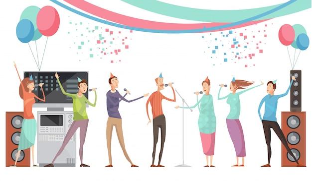 Concetto del partito di karaoke con il gruppo di amici che cantano l'illustrazione piana di vettore
