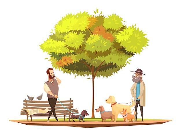 Concetto del proprietario del cane con la camminata nell'illustrazione di vettore del fumetto di simboli del parco