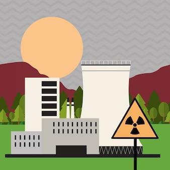 Concetto del segno di industria, della pianta e di rischio biologico