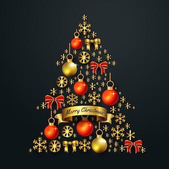 Concetto dell'albero di natale fatto della decorazione dorata realistica