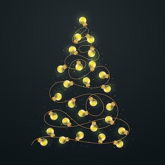 Concetto dell'albero di natale fatto delle lampadine