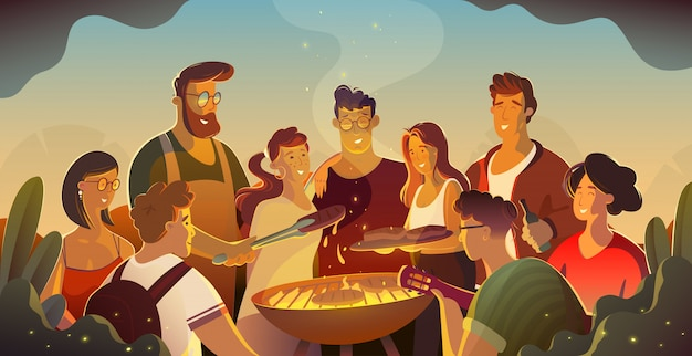 Concetto dell'alimento e della gente - amici felici che mangiano carne per la cena al ricevimento all'aperto di estate alla notte.