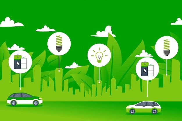 Concetto dell'automobile elettrica della città dell'ambiente di energia verde
