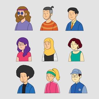 Concetto dell'illustrazione con gli avatar della gente