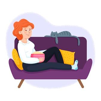 Concetto dell'illustrazione con il rilassamento della persona