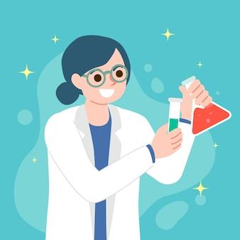 Concetto dell'illustrazione con la donna dello scienziato