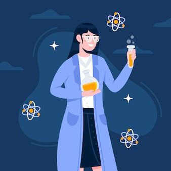 Concetto dell'illustrazione con la femmina dello scienziato