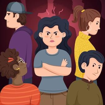 Concetto dell'illustrazione con la persona arrabbiata in folla