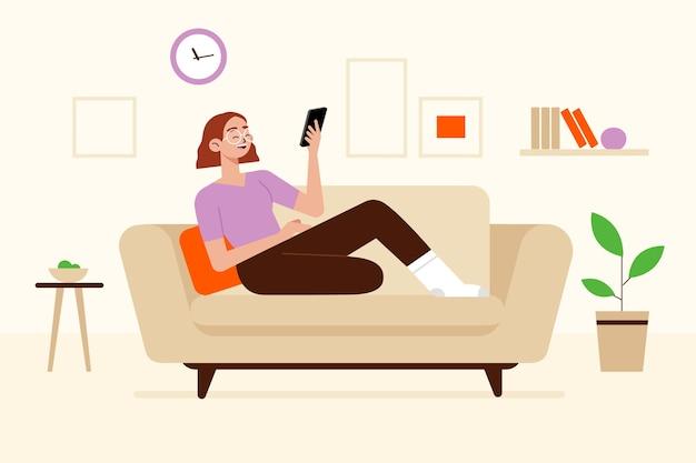 Concetto dell'illustrazione con la persona che si rilassa a casa
