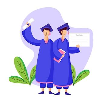 Concetto dell'illustrazione degli studenti che si laureano dall'istruzione