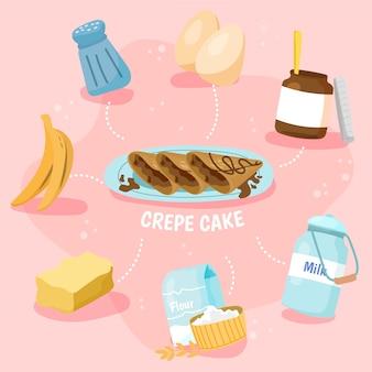 Concetto dell'illustrazione del dolce di crêpe