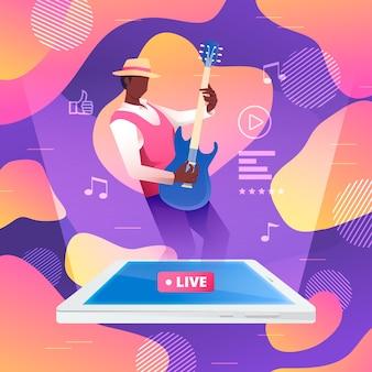 Concetto dell'illustrazione del flusso in diretta con l'uomo che gioca chitarra