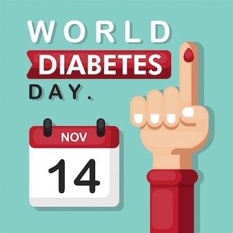 Concetto dell'illustrazione del giorno mondiale del diabete con stile piano