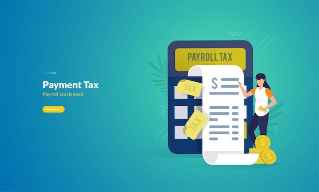 Concetto dell'illustrazione del rapporto di pagamento fiscale