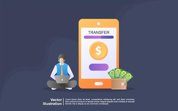 Concetto dell'illustrazione del trasferimento online. pagamento tramite l'applicazione smart phone e la carta di credito del conto bancario
