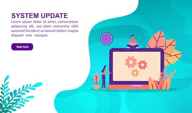 Concetto dell'illustrazione dell'aggiornamento del sistema con il carattere. modello di pagina di destinazione