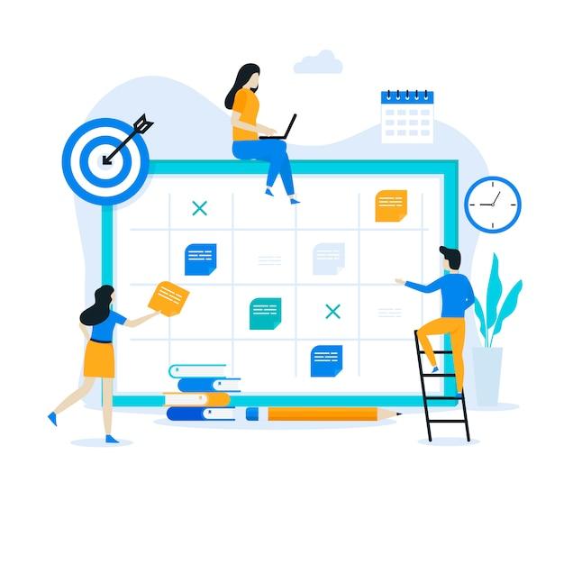 Concetto dell'illustrazione della pagina di atterraggio di pianificazione aziendale