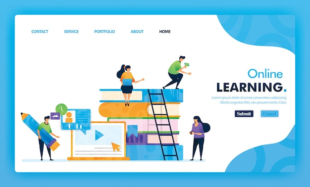 Concetto dell'illustrazione della pagina di destinazione di nuovo alla scuola di apprendimento online.