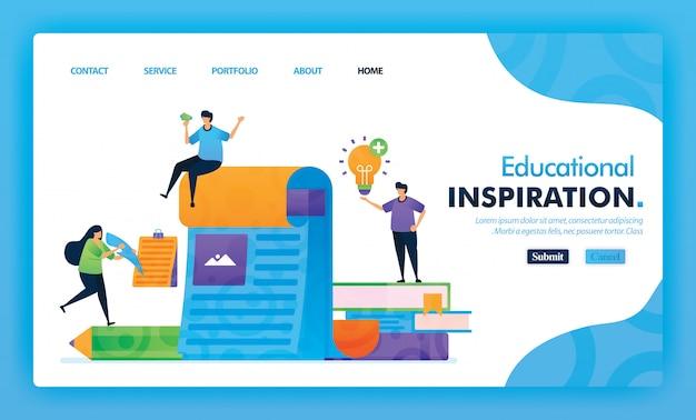 Concetto dell'illustrazione della pagina di destinazione di nuovo alla scuola di ispirazione nell'apprendimento.