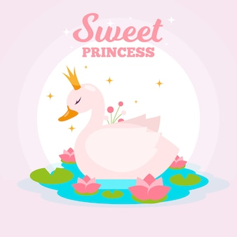 Concetto dell'illustrazione della principessa del cigno