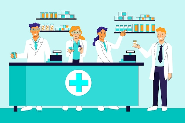 Concetto dell'illustrazione della raccolta del farmacista