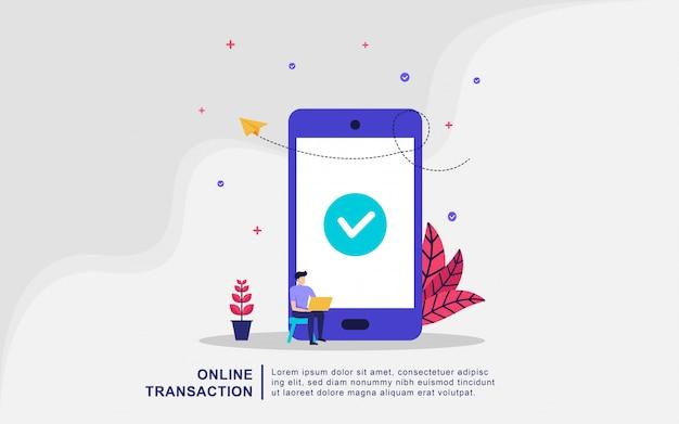 Concetto dell'illustrazione della transazione finanziaria, trasferimento di denaro, attività bancarie online, portafoglio mobile.