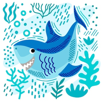 Concetto dell'illustrazione dello squalo del bambino