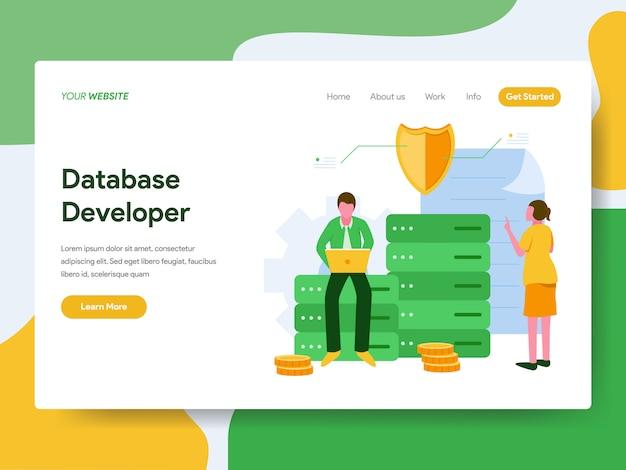 Concetto dell'illustrazione dello sviluppatore di database. pagina di destinazione