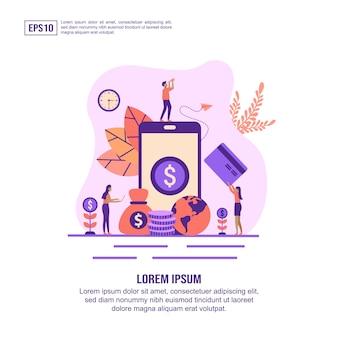 Concetto dell'illustrazione di attività bancarie di internet con characte