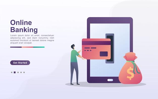 Concetto dell'illustrazione di attività bancarie online con la gente minuscola. le persone effettuano transazioni online, prelevano o depositano denaro tramite i telefoni cellulari.