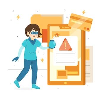 Concetto dell'illustrazione di attività del pirata informatico