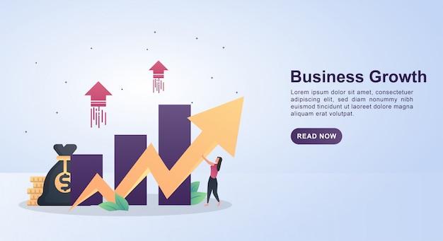 Concetto dell'illustrazione di crescita di affari con la gente che tiene i grafici a linee.