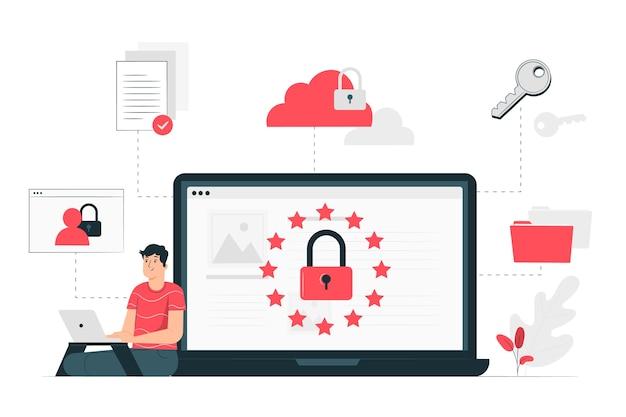 Concetto dell'illustrazione di legge sulla protezione dei dati