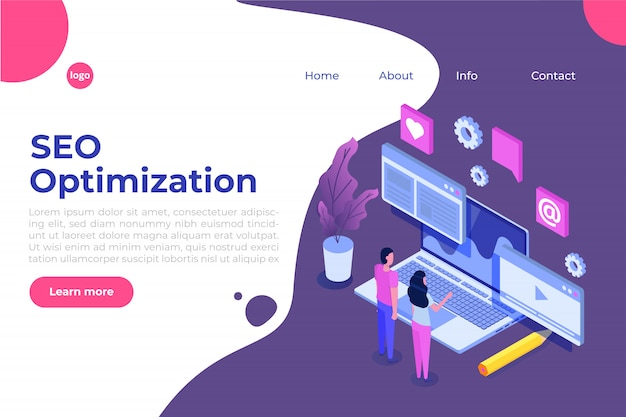 Concetto dell'illustrazione di ottimizzazione di seo di web isometrico. modello di pagina di destinazione. adesivo per banner web, pagina web, banner, presentazione, social media, documenti, carte, poster.