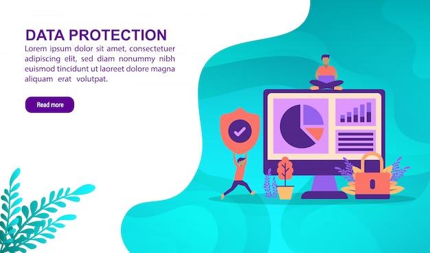 Concetto dell'illustrazione di protezione dei dati con il carattere. modello di pagina di destinazione