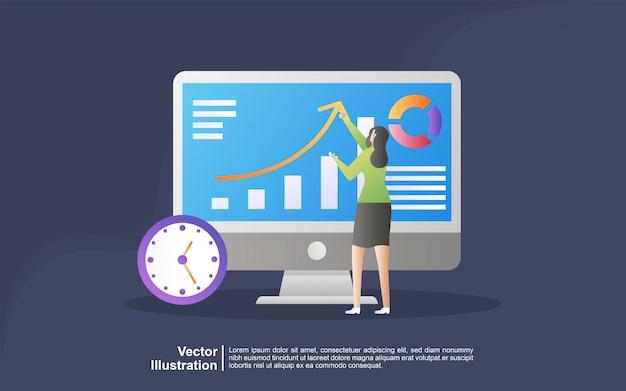 Concetto dell'illustrazione di ricerca di mercato. concetto per agenzia di marketing digitale