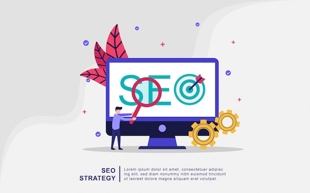 Concetto dell'illustrazione di strategia di seo. marketing digitale, tecnologie digitali