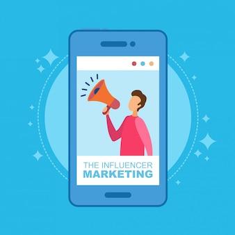 Concetto dell'illustrazione di vendita dell'influencer. uomo con altoparlante sul telefono.