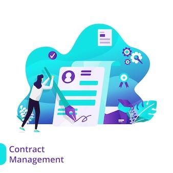 Concetto dell'illustrazione di vettore della gestione del contratto della pagina di destinazione