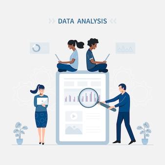 Concetto dell'illustrazione di vettore di analisi dei dati.