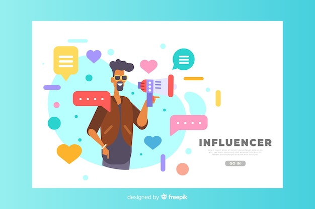 Concetto dell'influencer per landing page