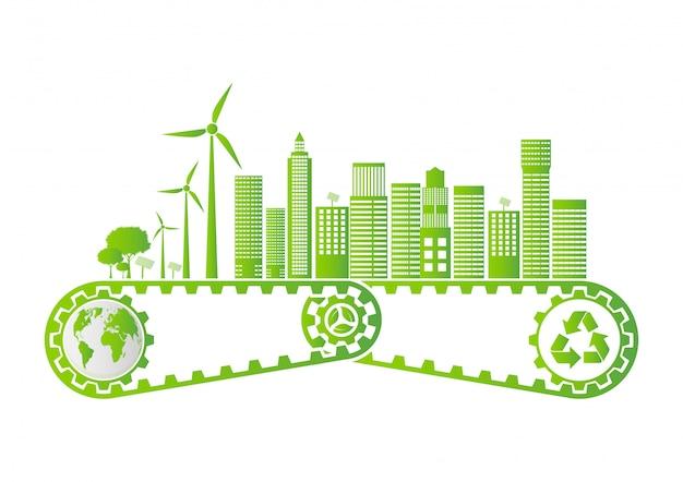 Concetto dell'ingranaggio di risparmio di ecologia e sviluppo ambientale di energia sostenibile
