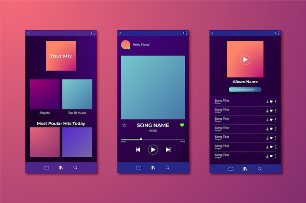 Concetto dell'interfaccia del modello di app del lettore musicale