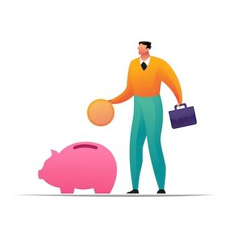 Concetto dell'uomo d'affari che mette a moneta un denaro del porcellino salvadanaio