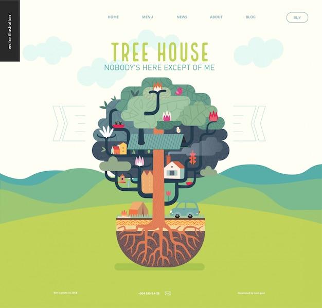 Concetto della casa sull'albero per il modello web della pagina di atterraggio