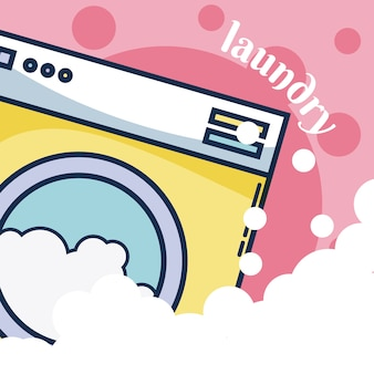 Concetto della lavanderia della macchina della rondella sopra il fondo delle bolle