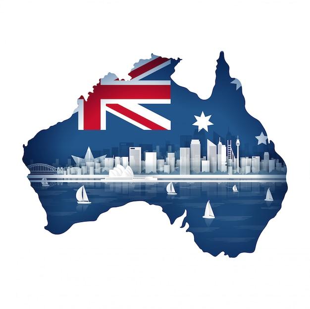 Concetto della mappa dell'australia con la bandiera e punto di riferimento famoso per la cartolina e il manifesto di viaggio, opuscolo, pubblicità